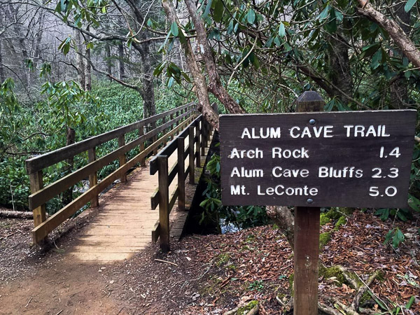 Fun things to do in Hendersonville NC : Sign for Mt LeConte and Alum Cave in Smoky Mtns Park, TN.